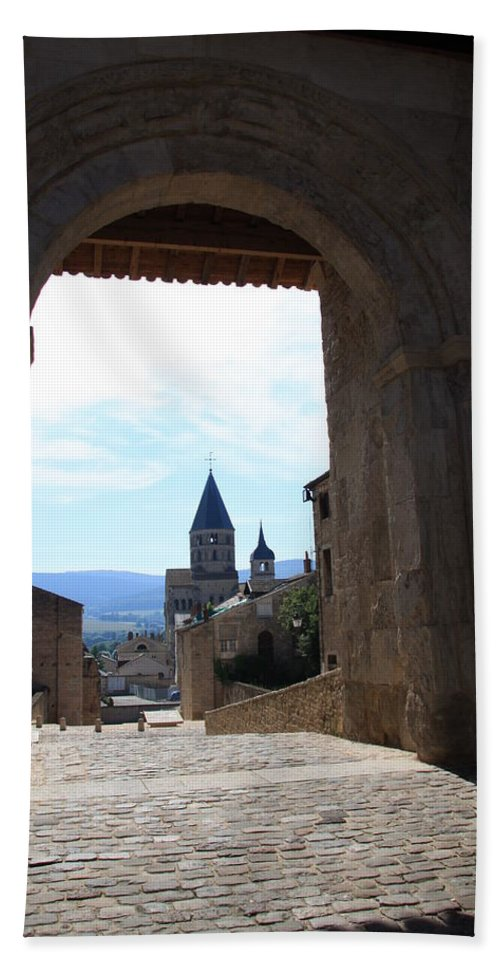 Church Bath Sheet featuring the photograph Abbey Through Doorway - Cluny by Christiane Schulze Art And Photography