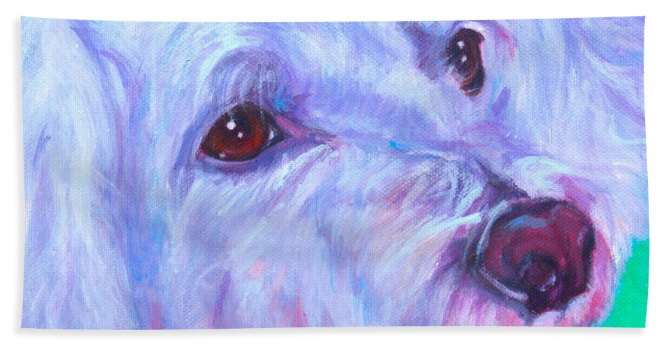 Dog Portrait Hand Towel featuring the painting Abby by Deborah Cullen