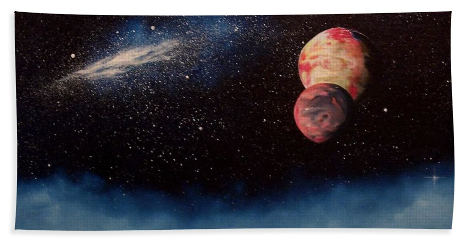 Landscape Hand Towel featuring the painting Above Alien Clouds by Murphy Elliott