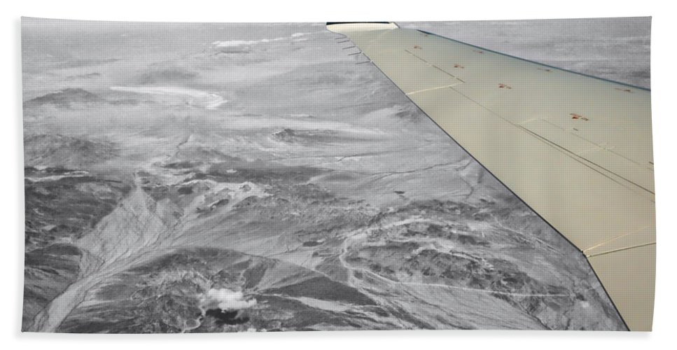Clouds Bath Sheet featuring the photograph Above The Clouds Wing Tip View Sc by Thomas Woolworth