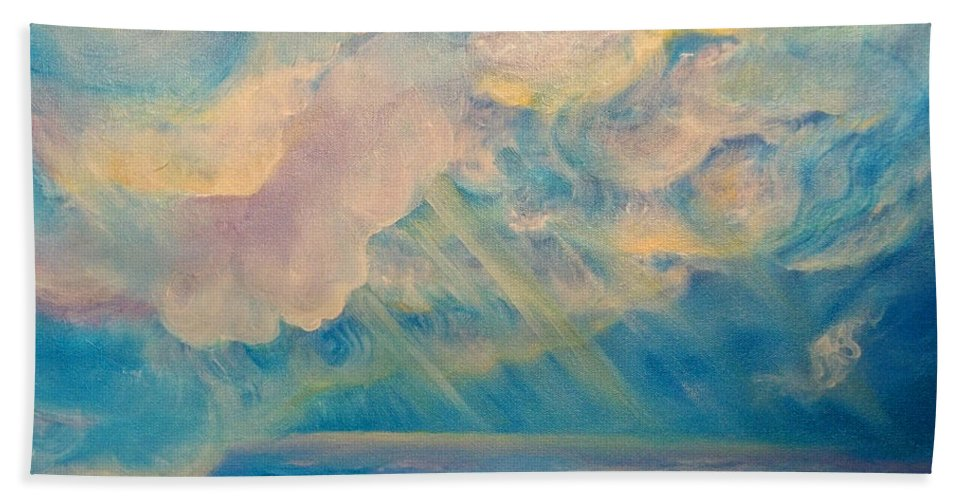 Clouds Hand Towel featuring the painting Above The Sun Splashed Clouds by Anne Cameron Cutri