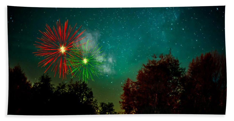 Tree Bath Sheet featuring the photograph Above The Trees Below The Stars Celebration by Movie Poster Prints