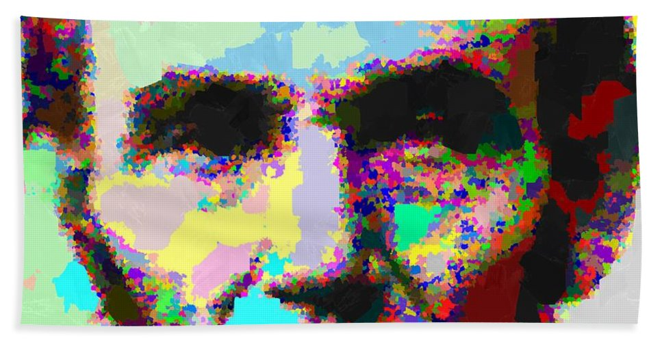 Abraham Bath Sheet featuring the painting Abraham Lincoln Portrait - Abstract by Samuel Majcen