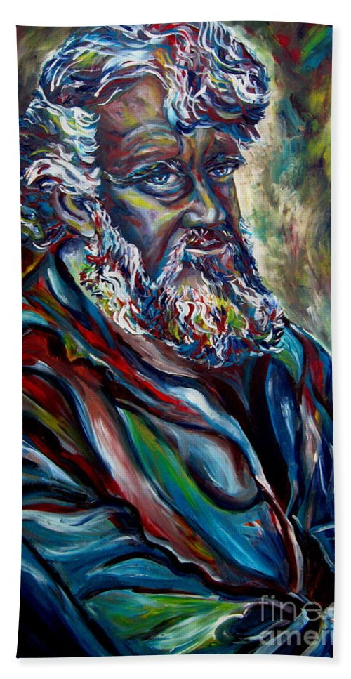 Abraham Patriarh Bath Sheet featuring the painting Abraham Patriarch by Carole Spandau