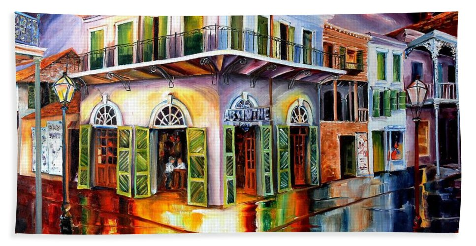 New Orleans Hand Towel featuring the painting Absinthe House New Orleans by Diane Millsap
