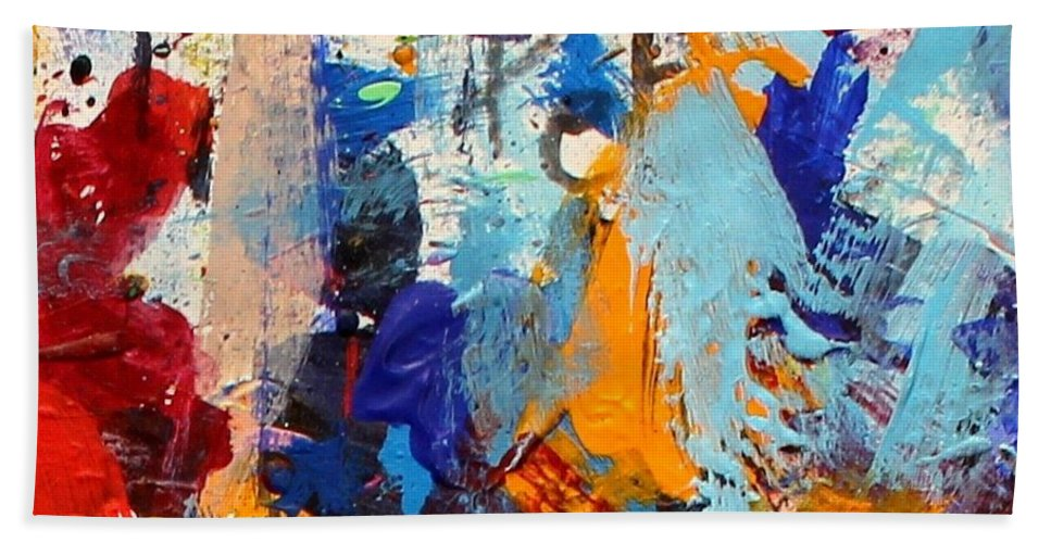 Abstract Hand Towel featuring the painting Abstract 10 by John Nolan