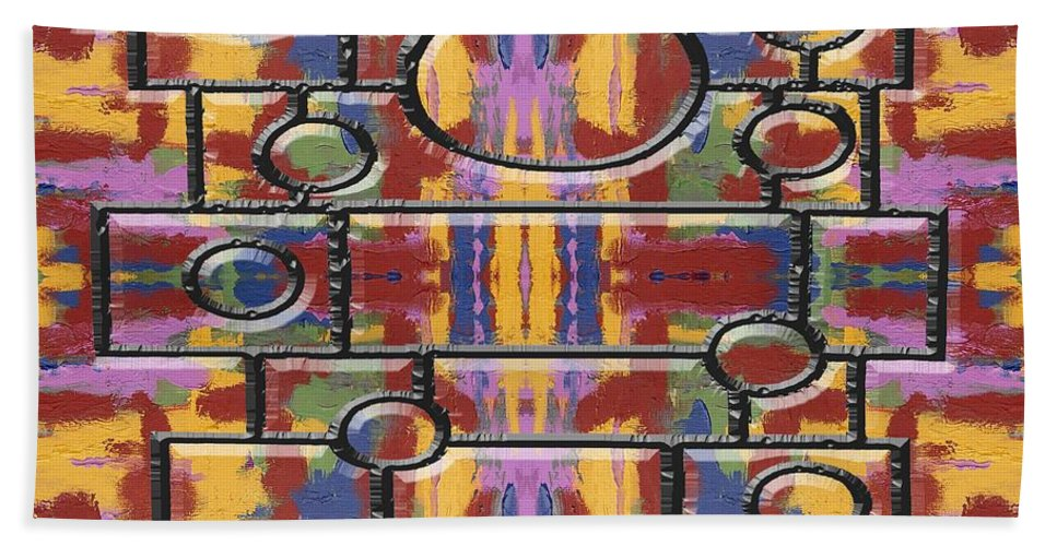 Abstract Hand Towel featuring the painting Abstract 94 by Patrick J Murphy