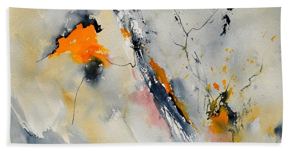 Abstract Hand Towel featuring the painting Abstract 416032 by Pol Ledent