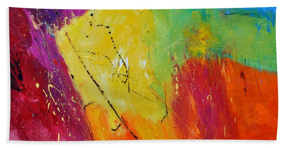 Abstract Hand Towel featuring the painting Abstract 77411112 by Pol Ledent
