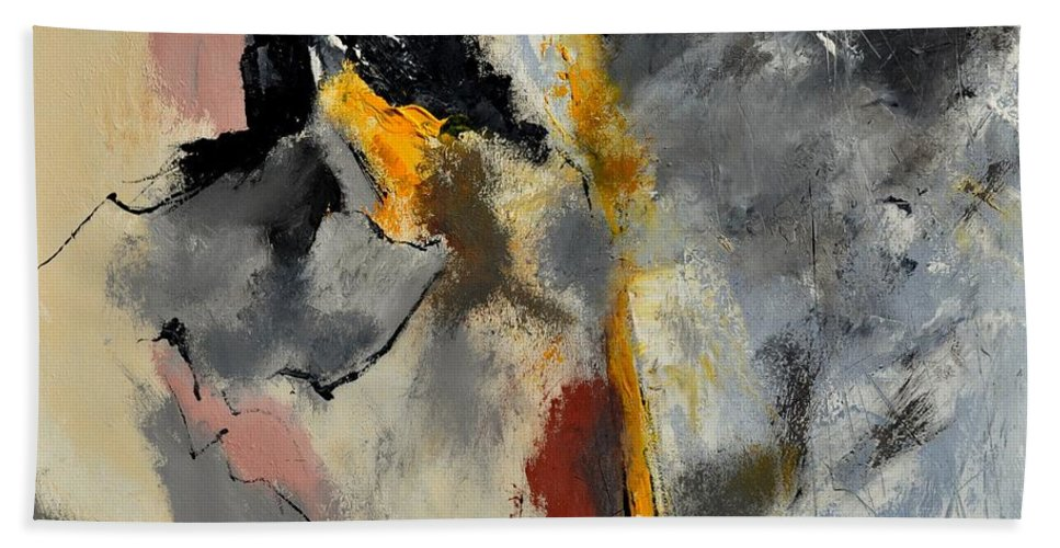 Abstract Hand Towel featuring the painting Abstract 8841602 by Pol Ledent