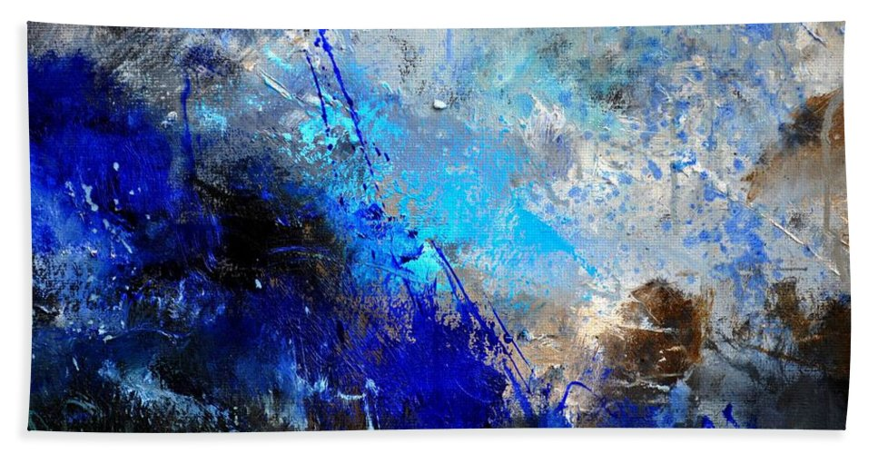 Abstract Hand Towel featuring the painting Abstract 964180 by Pol Ledent