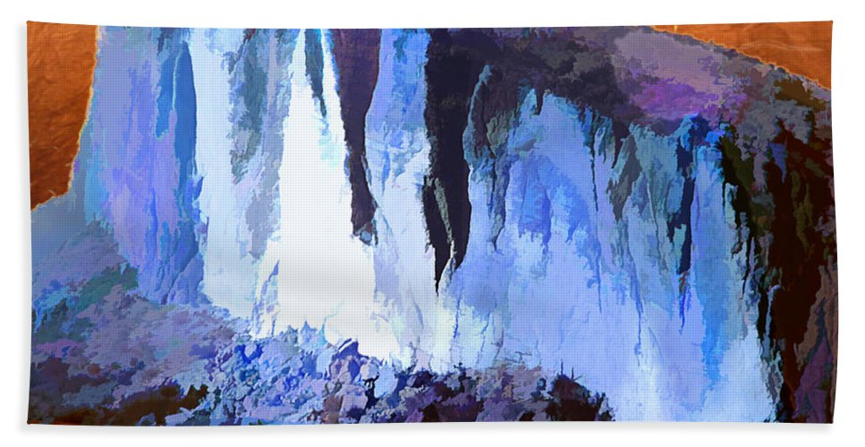 Mountains Abstract Arizona Peak Desert Southwest Impressionism Impressionistic Nature Trees Landscape Hand Towel featuring the painting Abstract Arizona Mountains At Icy Dawn by Elaine Plesser