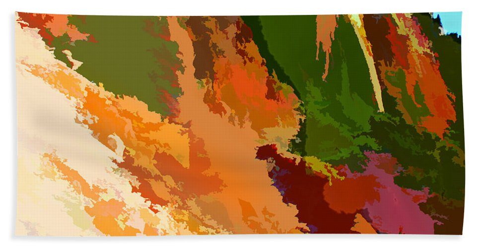 Mountains Abstract Arizona Peak Desert Southwest Impressionism Impressionistic Nature Trees Landscape Bath Sheet featuring the painting Abstract Arizona Mountains In The Afternoon by Elaine Plesser