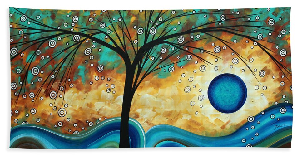 Art Hand Towel featuring the painting Abstract Art Contemporary Painting Summer Blooms By Madart by Megan Duncanson