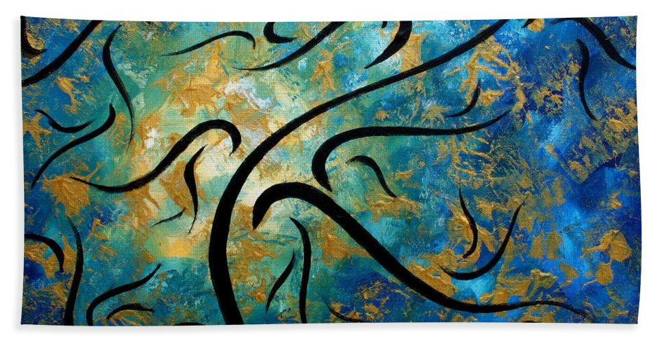 Wall Bath Sheet featuring the painting Abstract Art Gold Textured Original Tree Painting Peace And Desire By Madart by Megan Duncanson