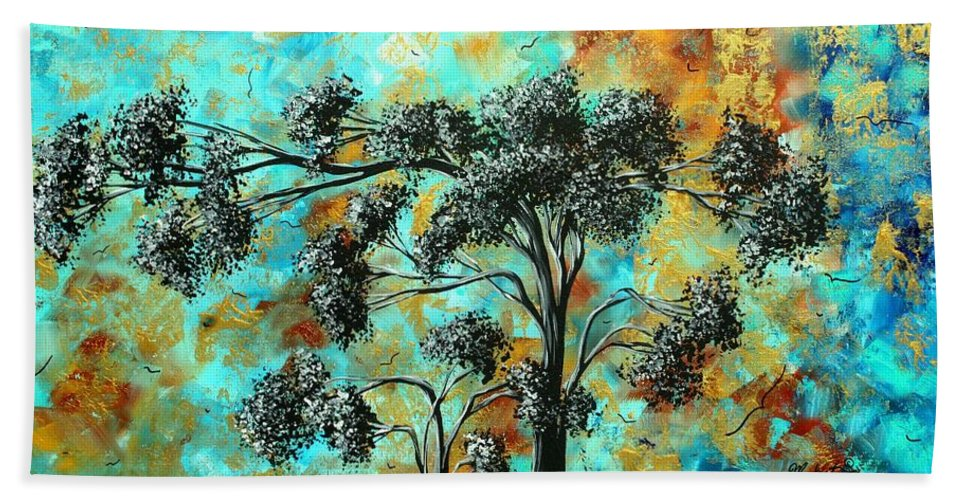 Abstract Hand Towel featuring the painting Abstract Art Landscape Metallic Gold Textured Painting Spring Blooms II By Madart by Megan Duncanson