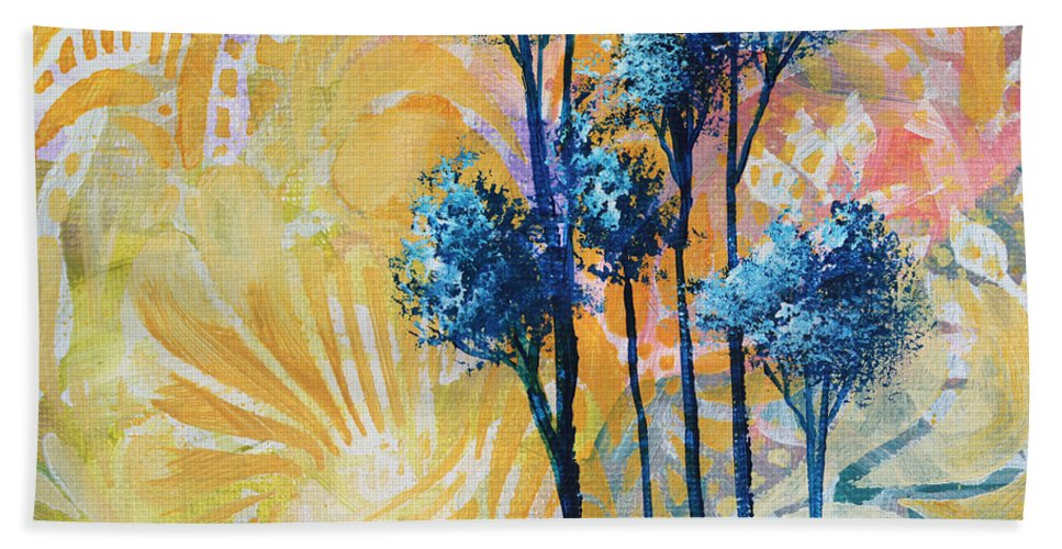 Abstract Hand Towel featuring the painting Abstract Art Original Landscape Painting Contemporary Design Blue Trees II By Madart by Megan Duncanson