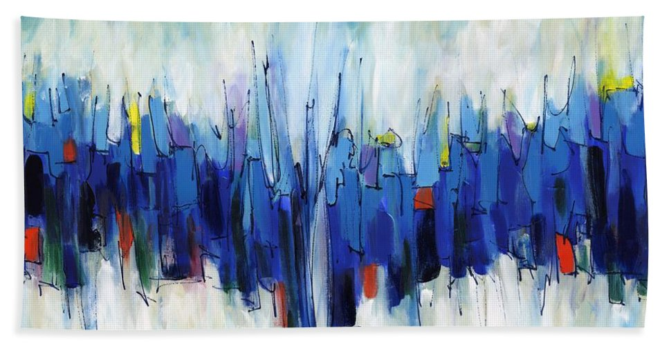 Abstract Bath Sheet featuring the painting Abstract Art Sixty-two by Lynne Taetzsch