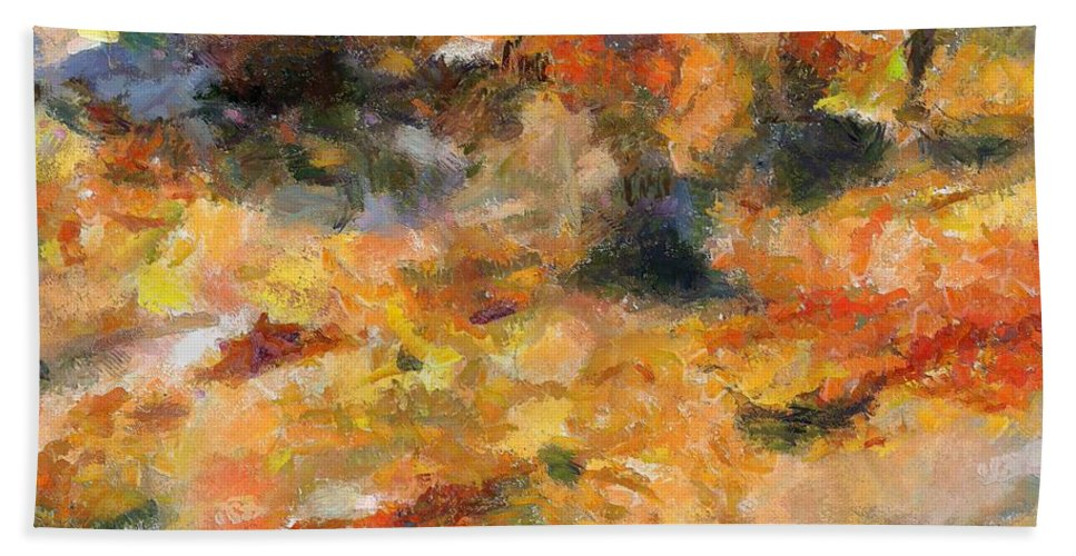 Abstract Autumn Hand Towel featuring the painting Abstract Autumn 1 by Dragica Micki Fortuna