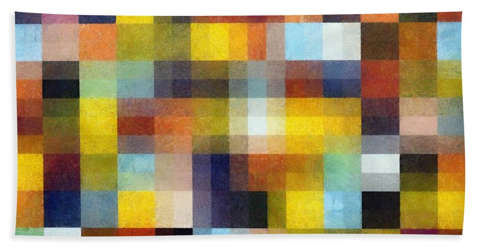 Pixels Bath Sheet featuring the painting Abstract Boxes With Layers by Michelle Calkins