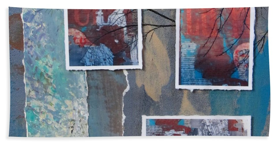 Abstract Hand Towel featuring the mixed media Abstract Branch Collage Trio by Anita Burgermeister