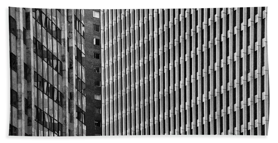 Black Bath Sheet featuring the photograph Abstract Buildings by Jess Kraft
