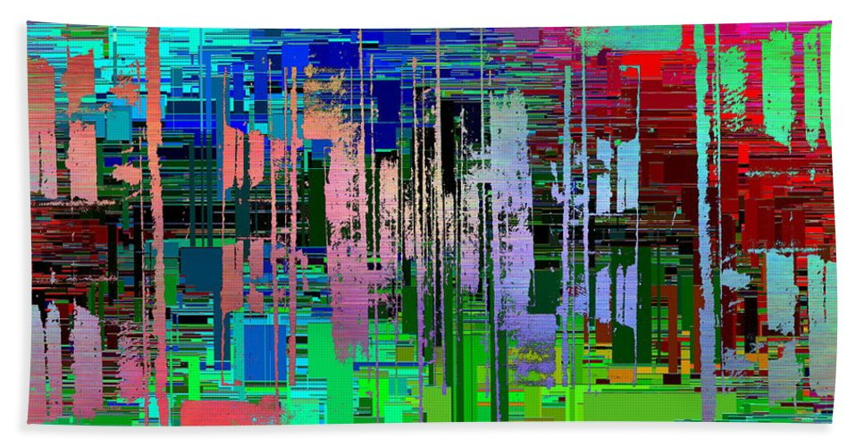 Abstract Bath Sheet featuring the digital art Abstract Cubed 19 by Tim Allen