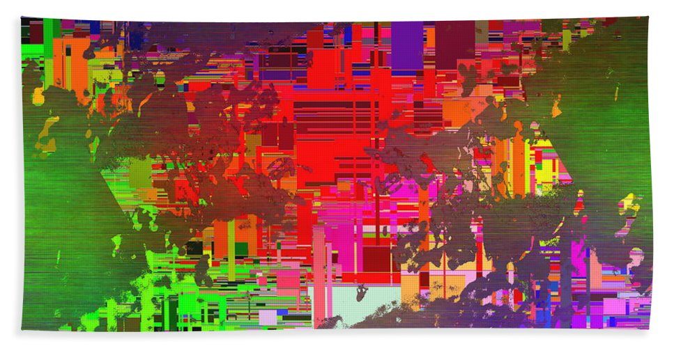 Abstract Bath Sheet featuring the digital art Abstract Cubed 2 by Tim Allen