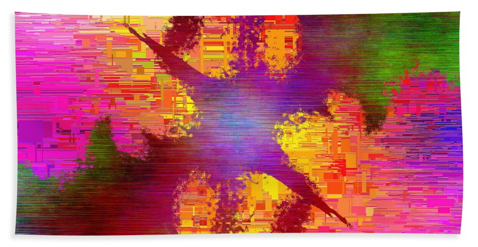 Abstract Hand Towel featuring the digital art Abstract Cubed 26 by Tim Allen