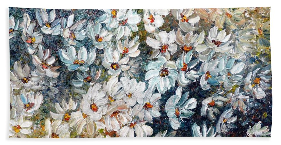White Frame Bath Sheet featuring the painting Abstract Daisy Remix by Karin Dawn Kelshall- Best