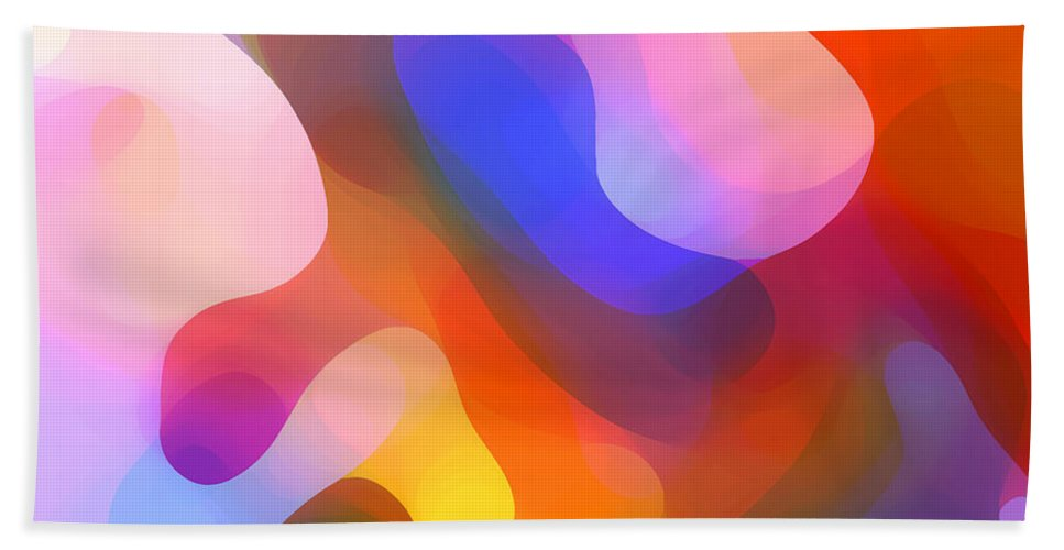 Abstract Art Bath Towel featuring the painting Abstract Dappled Sunlight by Amy Vangsgard