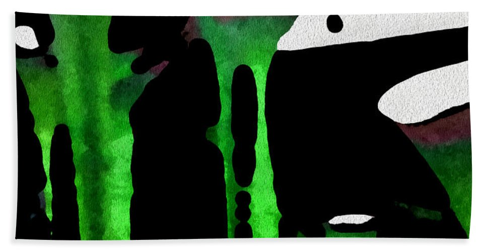 Abstract Hand Towel featuring the digital art Green Sensation by Carlos Tello