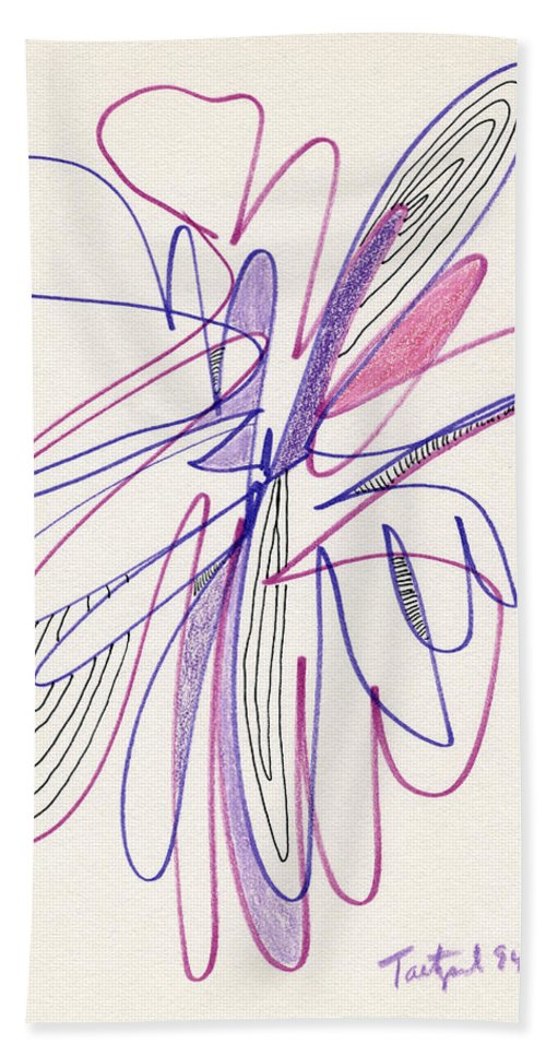 Abstract Hand Towel featuring the drawing Abstract Drawing Fifty-six by Lynne Taetzsch