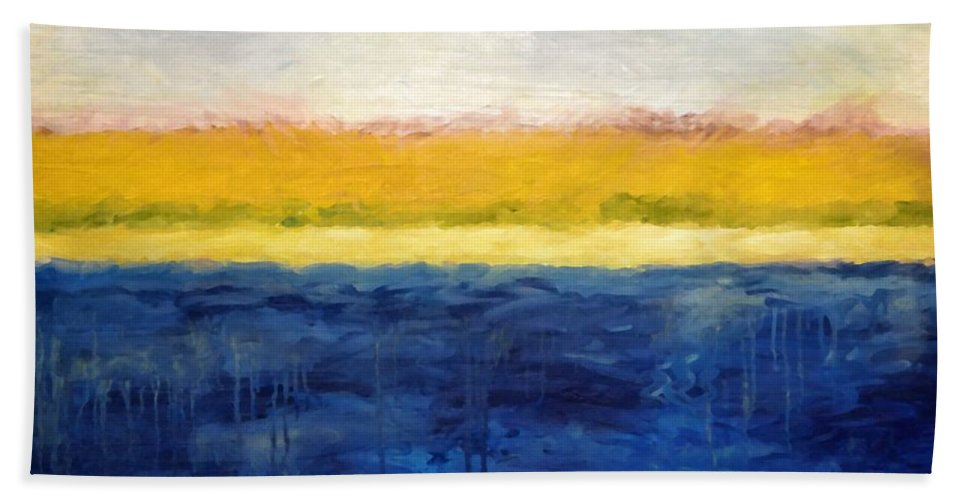 Abstract Landscape Bath Sheet featuring the painting Abstract Dunes With Blue And Gold by Michelle Calkins