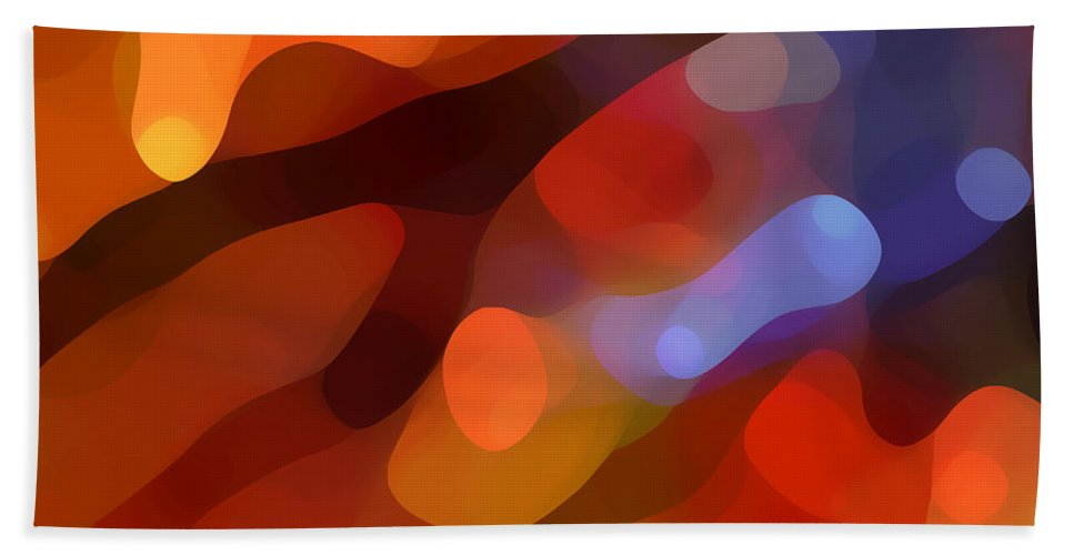 Abstract Art Bath Towel featuring the painting Abstract Fall Light by Amy Vangsgard