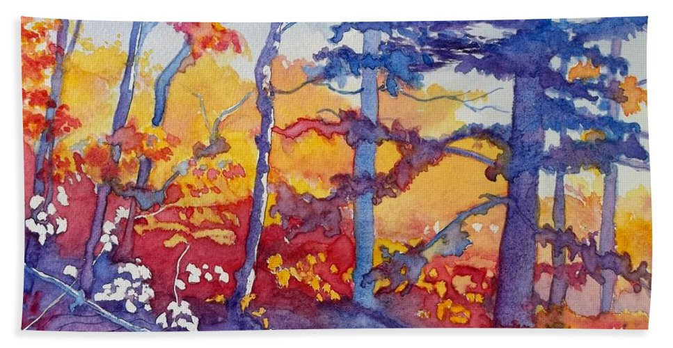 Abstract Forest Hand Towel featuring the painting Abstract Forest No. 1 by Lise PICHE