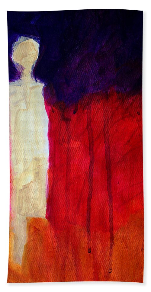 Abstract Bath Sheet featuring the painting Abstract Ghost Figure No. 1 by Nancy Merkle