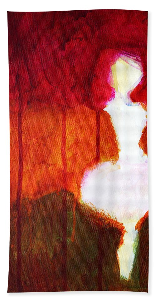 Abstract Bath Sheet featuring the painting Abstract Ghost Figure No. 2 by Nancy Merkle