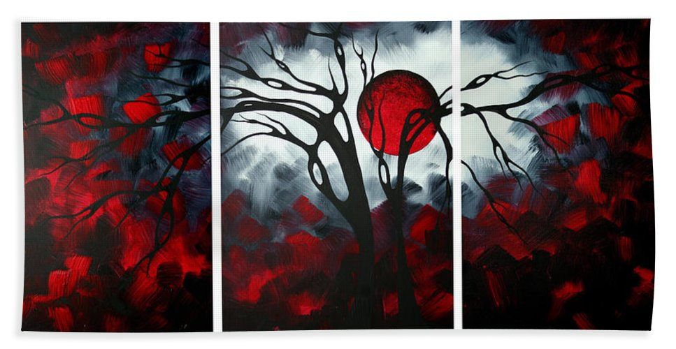 Abstract Bath Towel featuring the painting Abstract Gothic Art Original Landscape Painting Imagine By Madart by Megan Duncanson