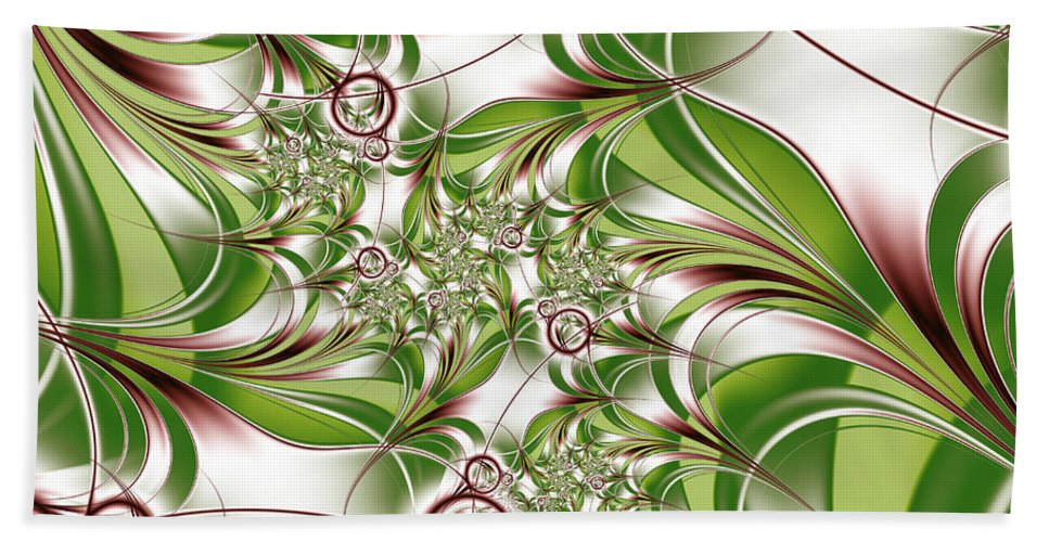 Abstract Hand Towel featuring the digital art Abstract Green Plant by Gabiw Art