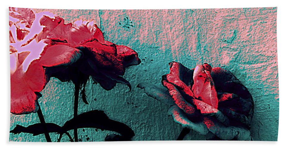 Rose Bath Sheet featuring the photograph Abstract Hdr Roses by Kathy Barney