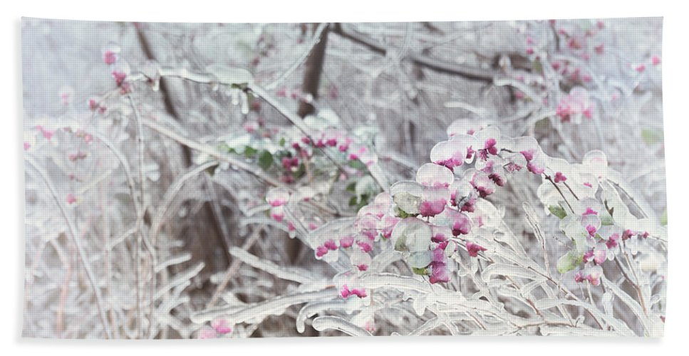 Nature Hand Towel featuring the photograph Abstract Ice Covered Shrubs by Oleksiy Maksymenko