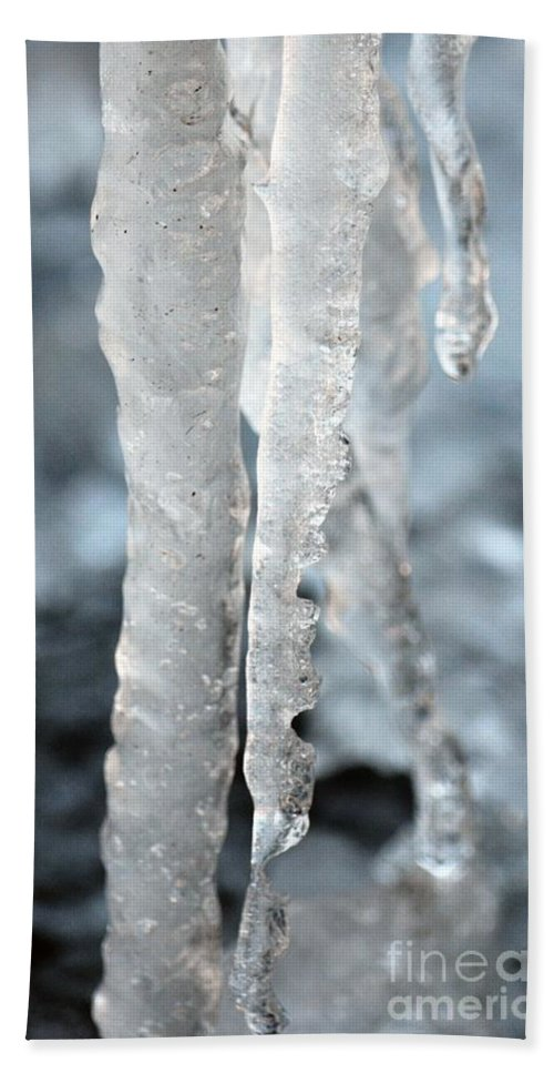 Abstract Icicles I Hand Towel featuring the photograph Abstract Icicles I by Maria Urso