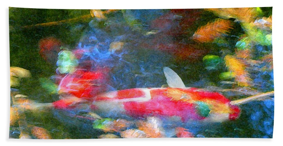 Animal Hand Towel featuring the painting Abstract Koi 1 by Amy Vangsgard
