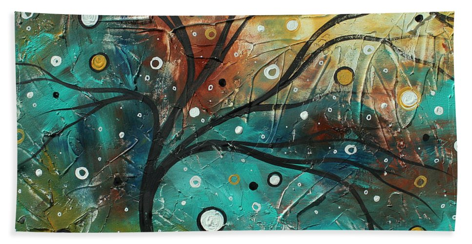 Texture Hand Towel featuring the painting Abstract Landscape Art Original Colorful Heavy Textured Painting Cracked Facade By Madart by Megan Duncanson