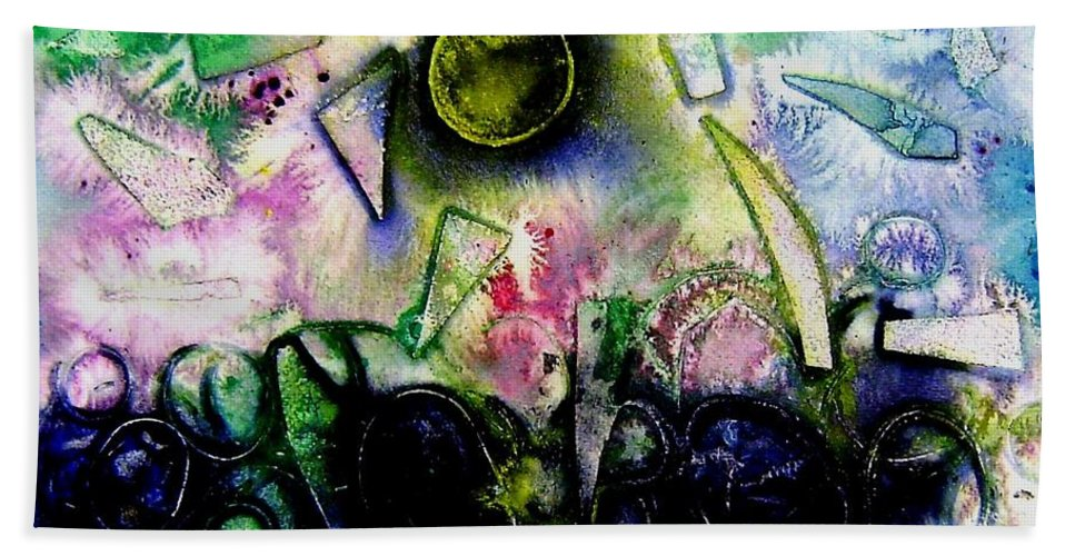 Abstract Hand Towel featuring the mixed media Abstract Landscape II by John Nolan