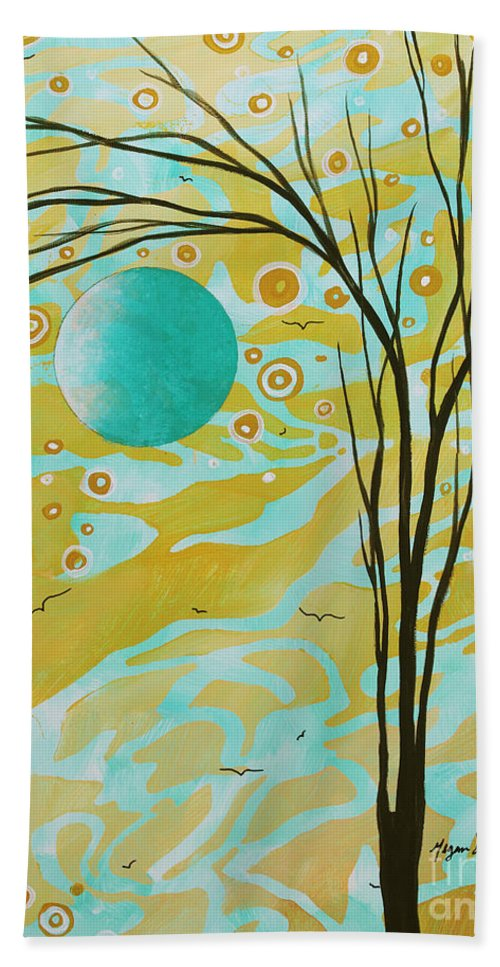 Abstract Hand Towel featuring the painting Abstract Landscape Painting Animal Print Pattern Moon And Tree By Madart by Megan Duncanson