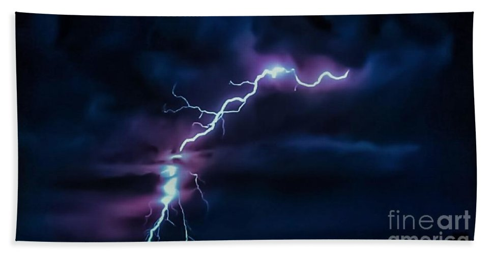 Wicked Bath Sheet featuring the photograph Abstract Positive Striker Lightning 13 by Jesse Post