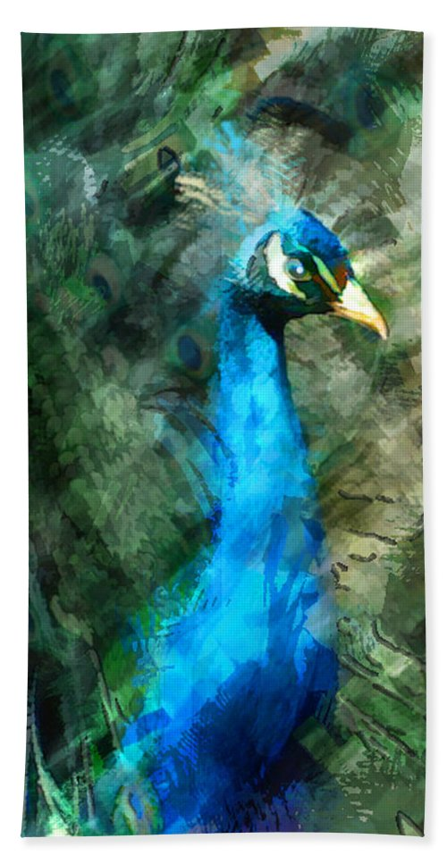 Animal Hand Towel featuring the painting Abstract Marker Sketch Of Peacock by Elaine Plesser