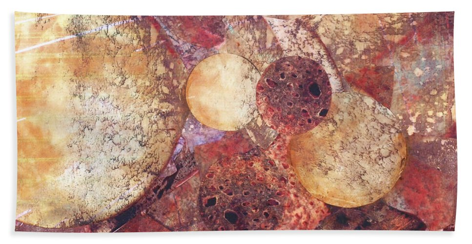 Circles Bath Sheet featuring the mixed media Abstract Naturescape by Judy Tolley